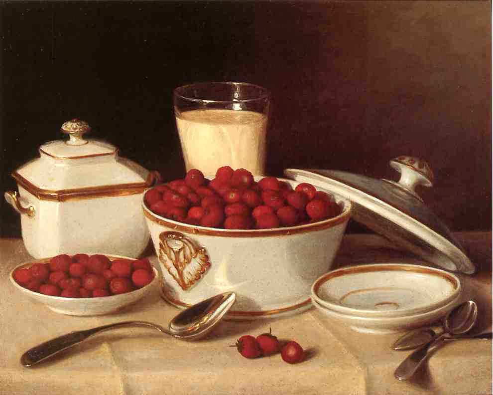 Still life with strawberries and cream.