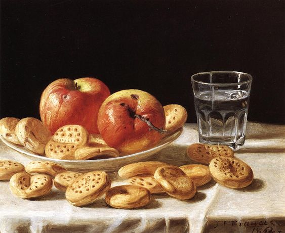 """Still Life with Apples and Biscuits"". 1862."
