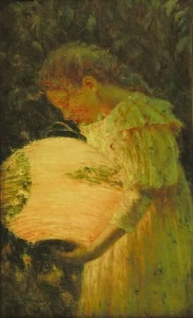 Young girl with paper lantern by Luther Emerson van Gorder (American, 1861 - 1931 detail from japanse lantrns. tweed museum of art u minnesota duluth painted in 1895. painter lived (Amer