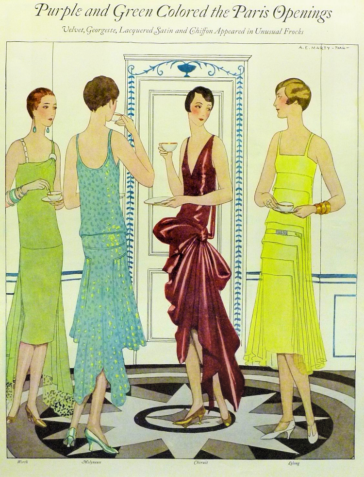 Purple and green colored frocks from the Paris Openings. Fashion illustration 1928-1930.