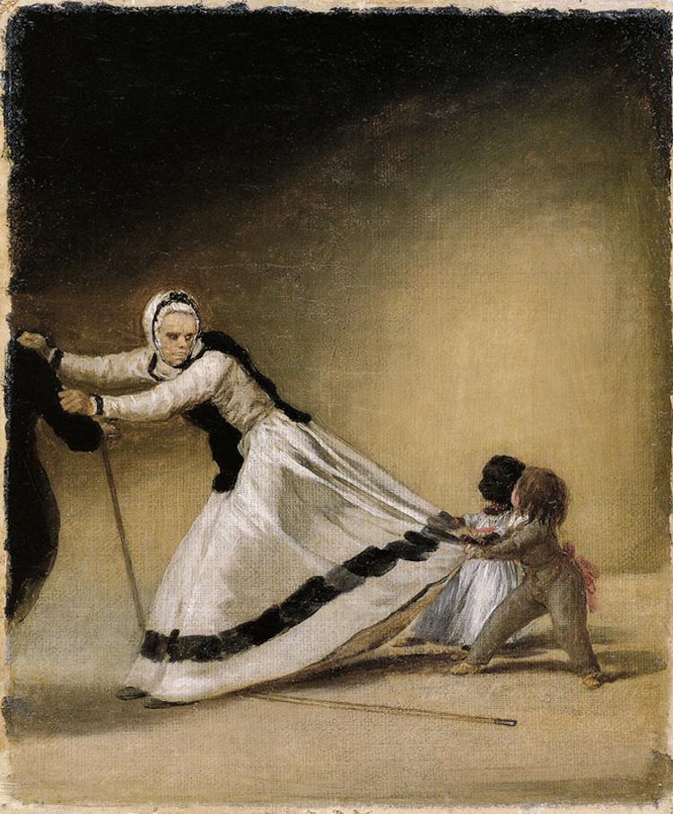 'La Beata', dueña de la duquesa de Alba, con los niños, Luis Berganza y María de la Luz. ca. 1795.