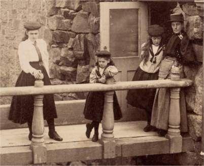Photograph of three girls. 1890's.