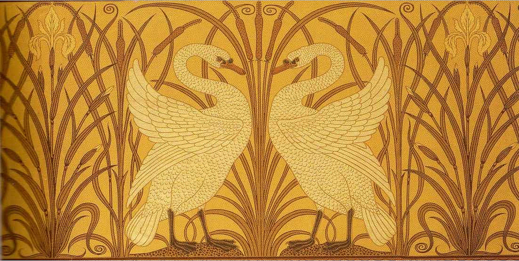 """Swan, Rush and Iris."" Wallpaper. 1877."