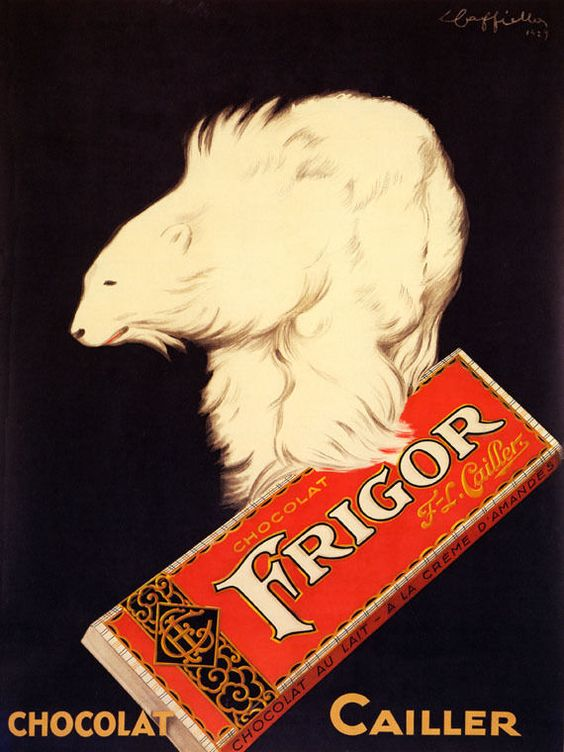 Poster showing a polar bear holding a bar of Frigor chocolate. 1929.