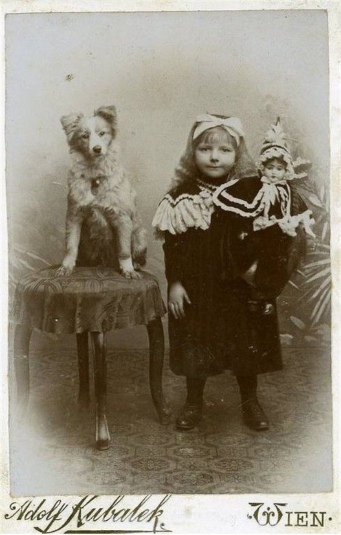 Photograph of a little girl with her doll and her dog. 19th c.
