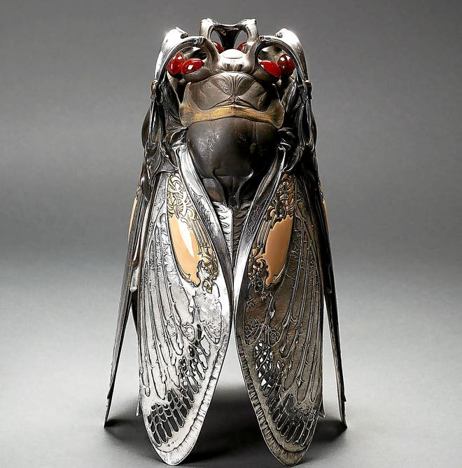 Vase in the design of three cicadas standing on the tips of their wings.