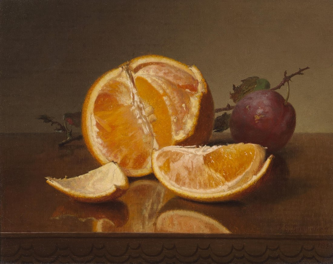"""Still Life with Orange and Plum."" 1881. Oil on canvas. Private collection."