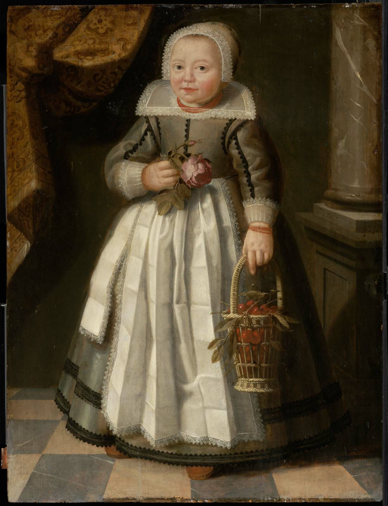 Portrait of a Girl in Frisian Costume Holding a Rose and a Basket of Cherries. 1625-1650.