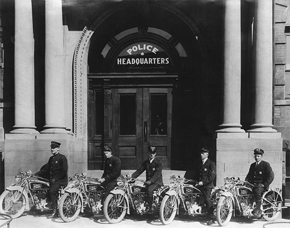 Motor officers, Police Headquarters, Salt Lake City Utah. Early 20th c.