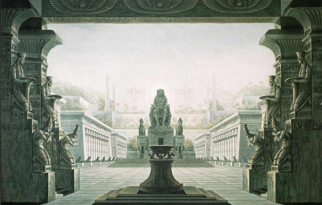 "Set design for the last scene of an 1816 production of Mozart's opera ""The Magic Flute""."