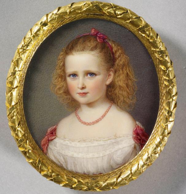 Miniature of Princess Elizabeth of Hesse, later Grand Duchess Serge of Russia as a child. ca. 1874.