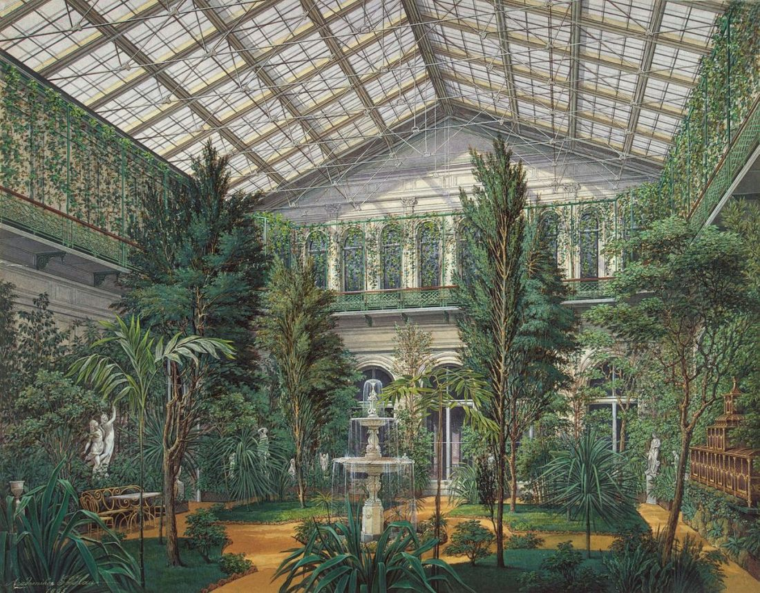 """The Winter Garden"" from the series ""Interiors of the Small Hermitage."" 1865."