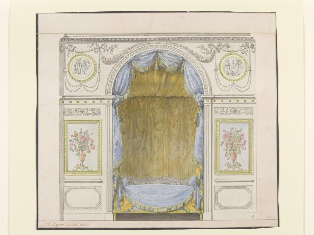 Elevation of one wall of an interior with a bed or day bed set into a niche. 1786-1790.