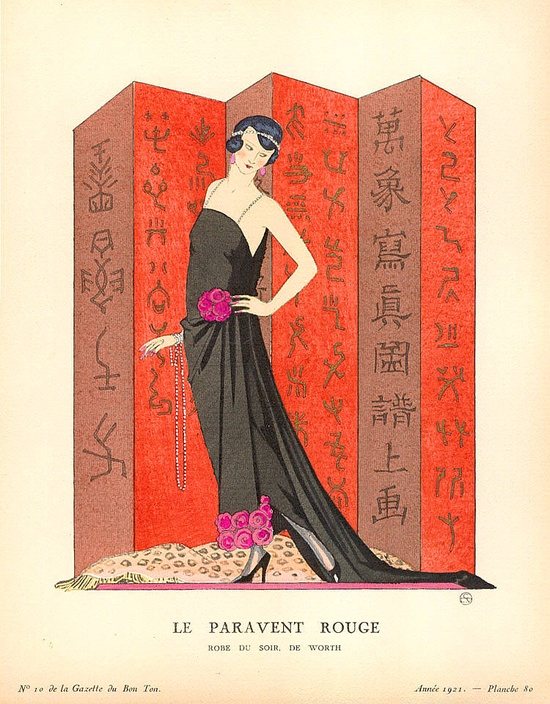 """Le paravent rouge"", from ""Gazette du Bon Ton."" 1921."