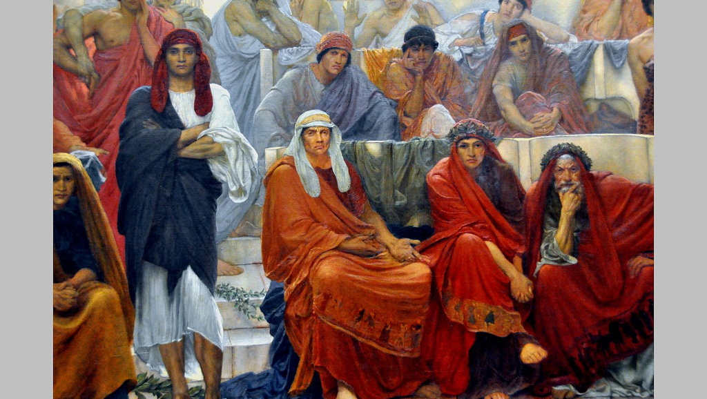 """""""An Audience in Athens during the Representation of Agamemnon by Aeschylus"""" (detail). 1884."""