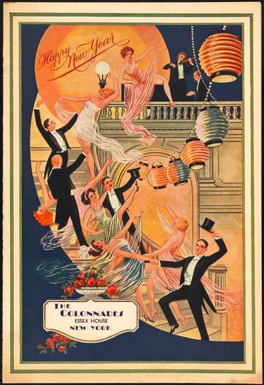 Menu card for New Year's Eve in the Colonnades Ballroom, Essex House Hotel. 1935.