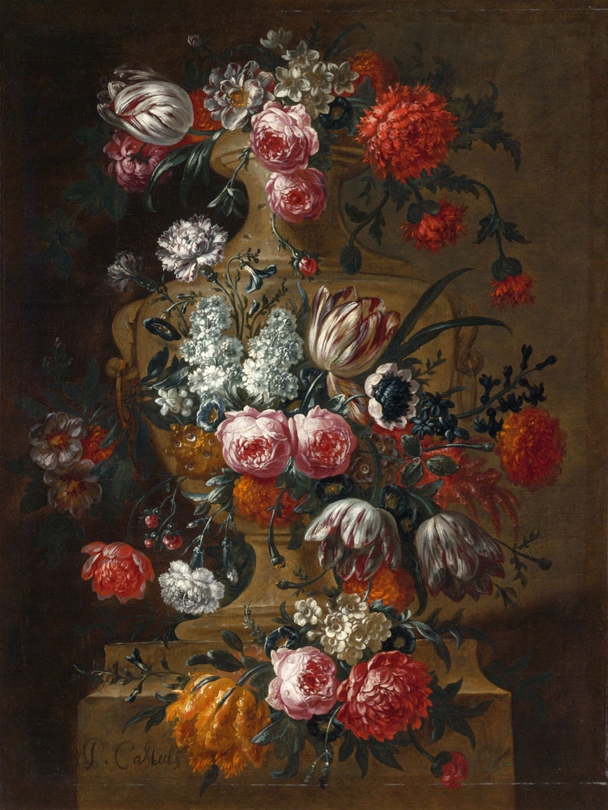 """Vase of Flowers on a Ledge."" After 1690."