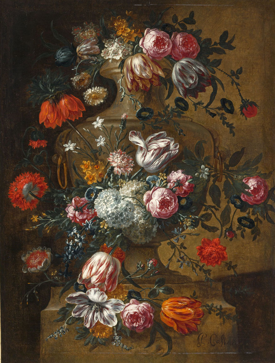 """Flowers in a Stone Urn."" After 1690."