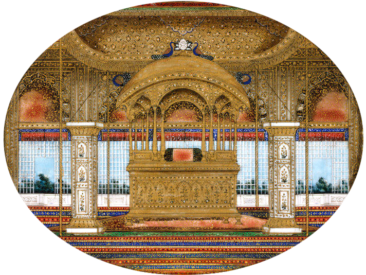 Peacock Throne in the Diwan-i-Khas of the Red Fort of Delhi. ca. 1850.