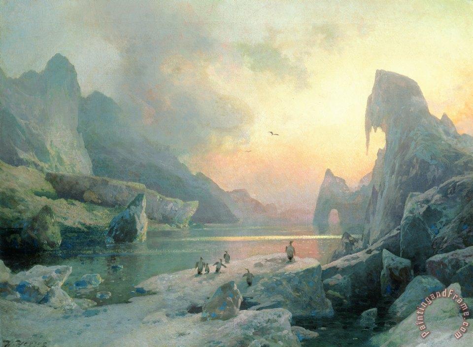 """Penguins in an Arctic landscape at dusk."" Undated."