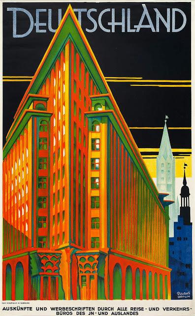 Travel poster for Hamburg, Germany (Deutschland). 1925.
