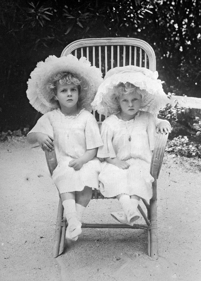 Princesses Margarita and Theodora of Greece. April, 1910 photograph.