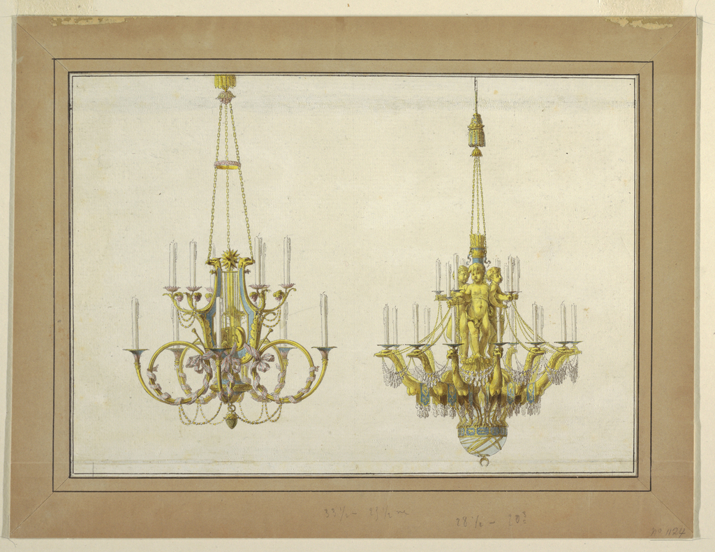 Design for two gilt bronze chandeliers. 1777.