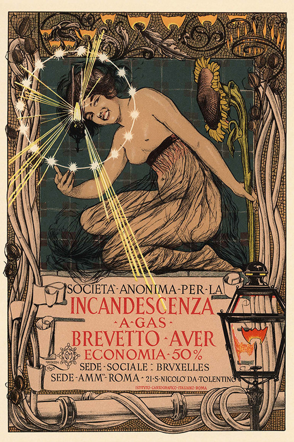 Poster advocating the use of gas incandescent lamps.1896.