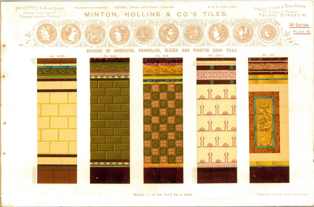 """Designs of embossed, enamelled, glazed and printed dado tiles."""