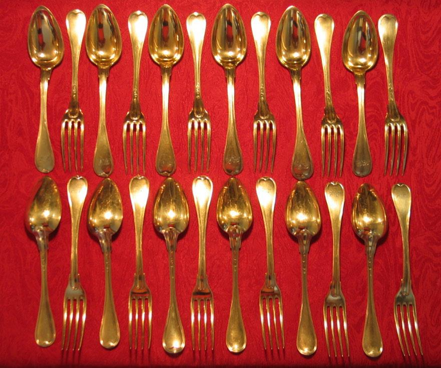 24 piece dessert set with forks and spoons with twelve of each. 1798-1809.