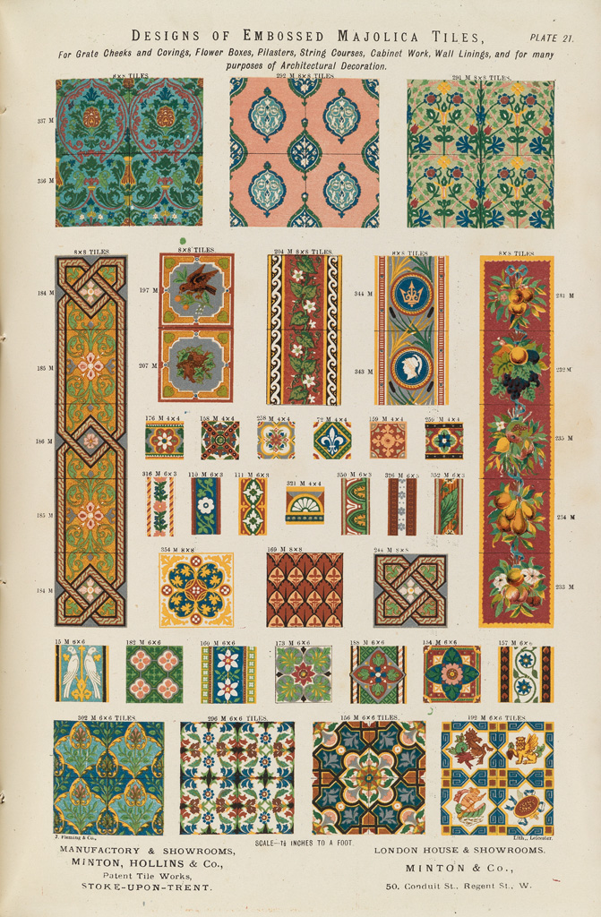 """Designs of embossed majolica tiles."""