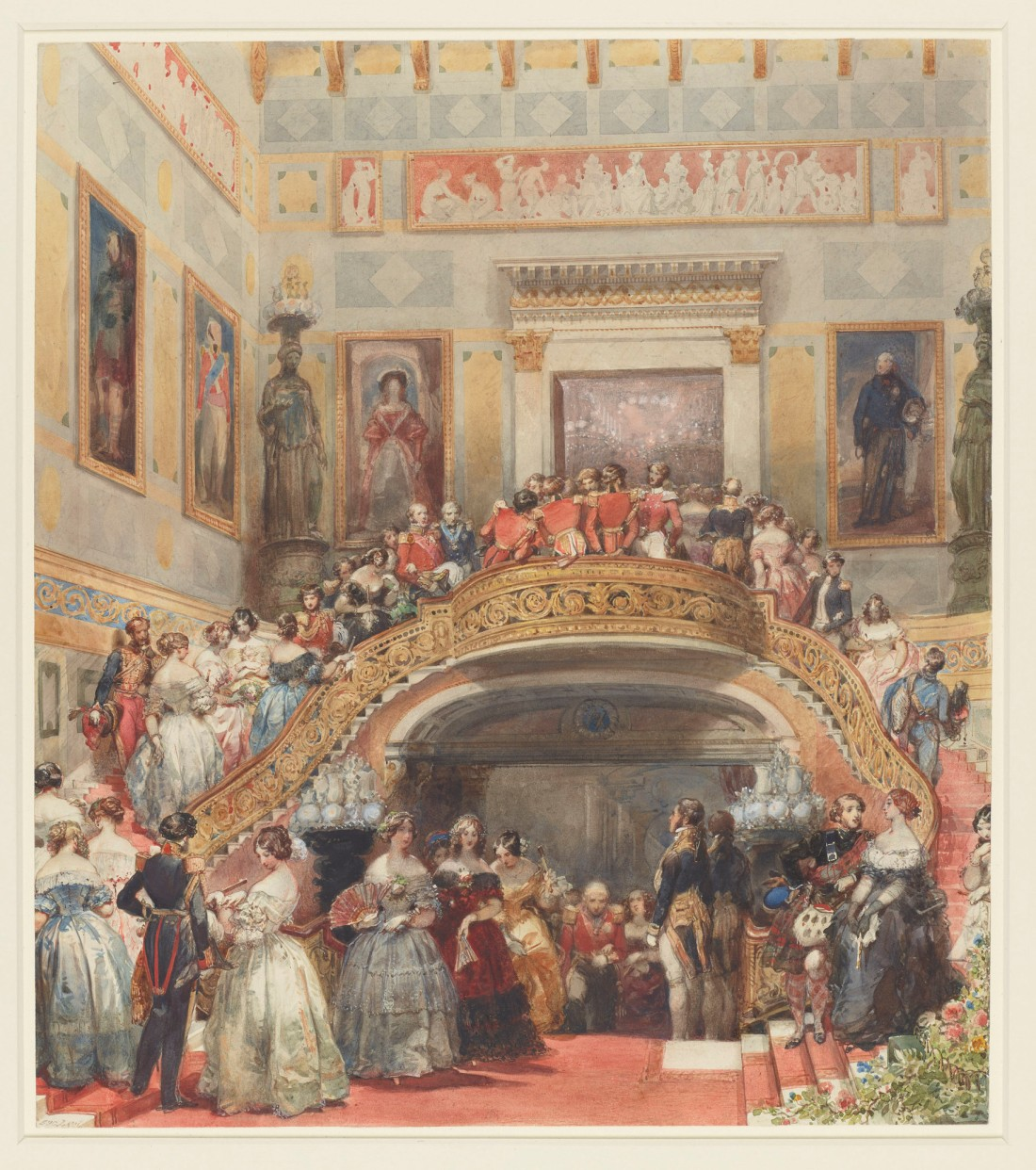 """The Grand Staircase at Buckingham Palace, State Ball, 5 July 1848."" 1848."