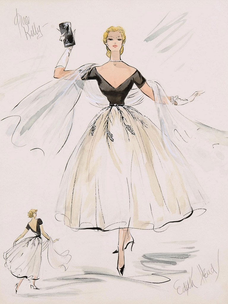 "Costume sketch of Grace Kelly's first outfit for ""Rear Window"". 1954."