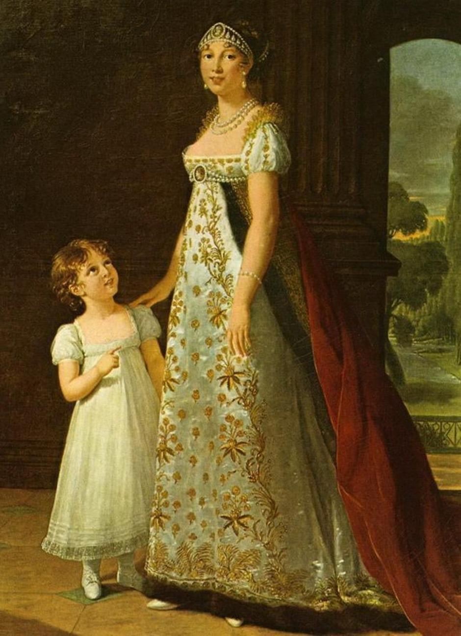 Caroline Murat, Queen of Naples, with her daughter, Letizia. 1807.