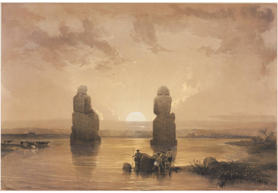 """Statues of Memnon at Thebes, during the Inundation."""