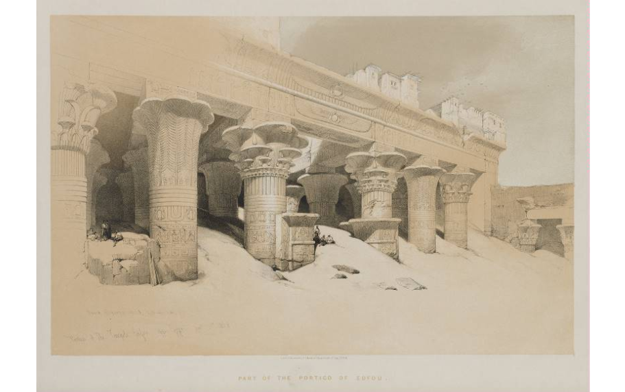 """Portico of the Temple Edfou, Upper Egypt."""