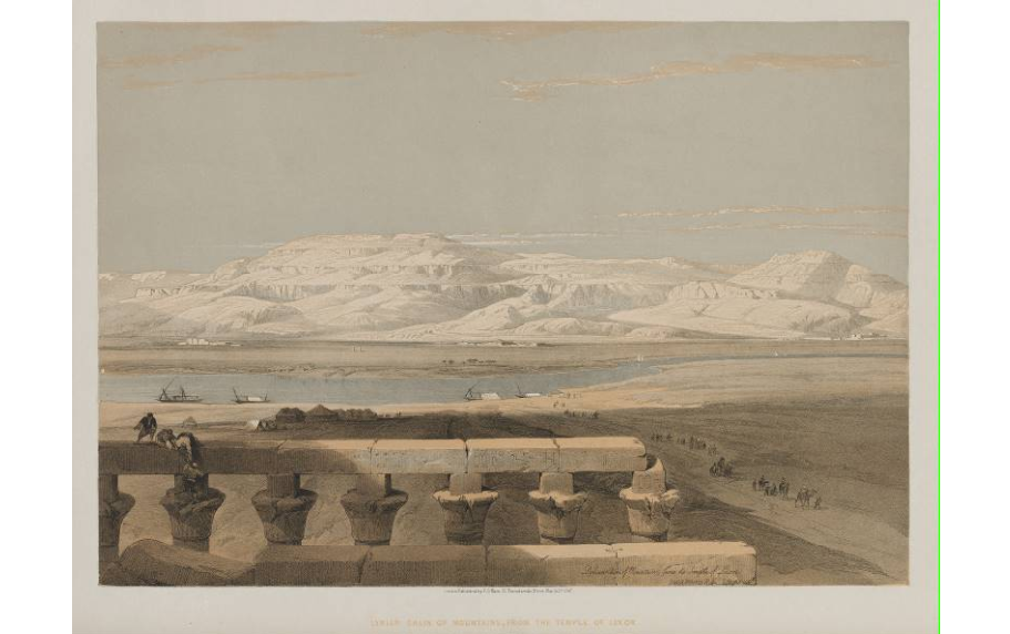 """Libyan Chain of Mountains, from the Temple of Luxor."""