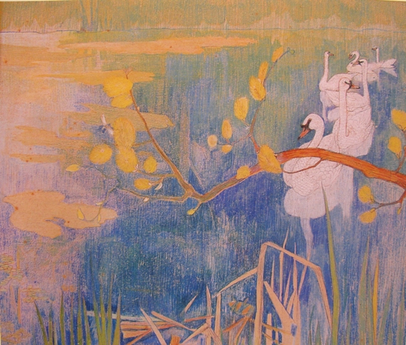 """""""Swans in the river."""" 1898."""