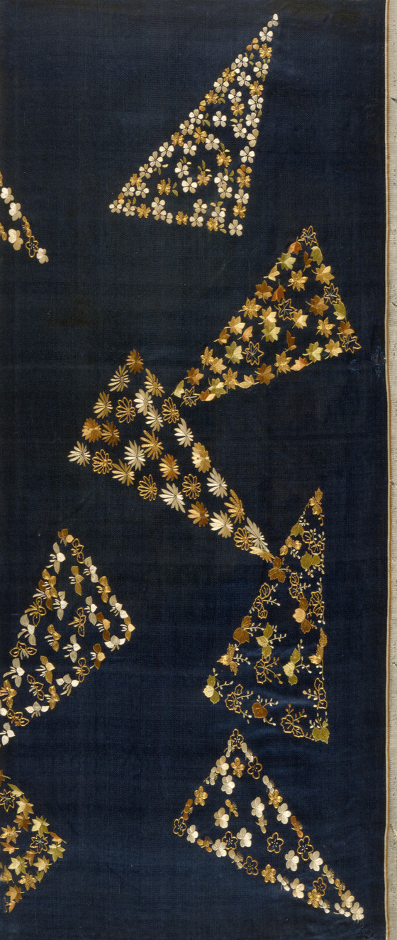 Kimono fragment with scattered triangles. Edo period, Japan (1615-1868).
