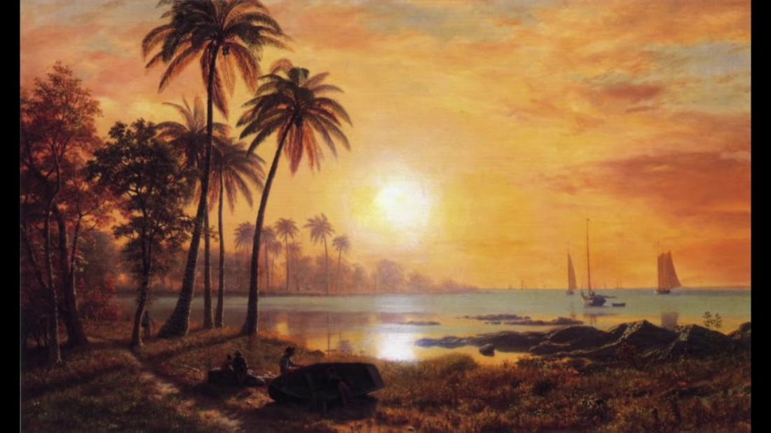 """Tropical landscape with fishing boats."" Undated."