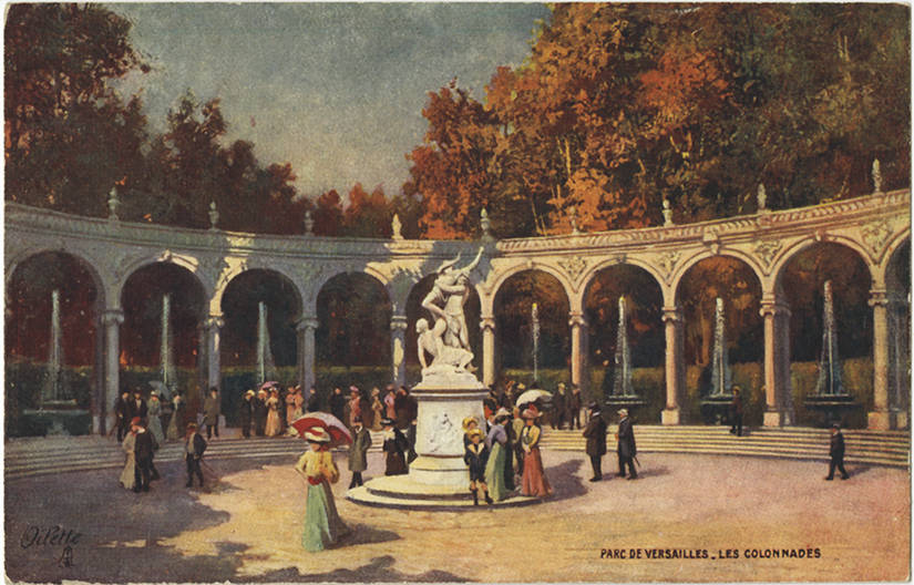 View of people walking around near Les Colonnades in the Versailles gardens.1908.