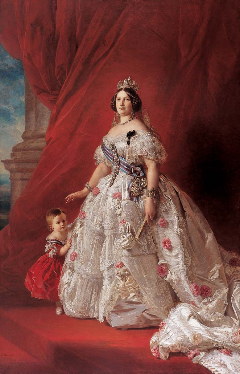 """Queen Isabella II of Spain and her daughter Isabella."" 1852."