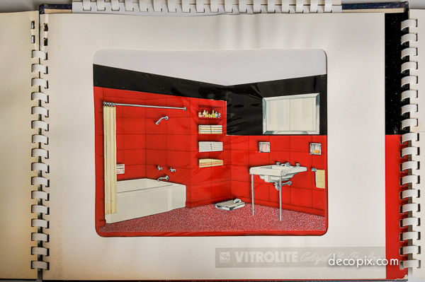 Red and white bathroom.