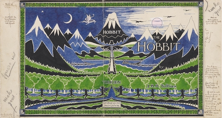 """Dust jacket for """"The Hobbit."""""""