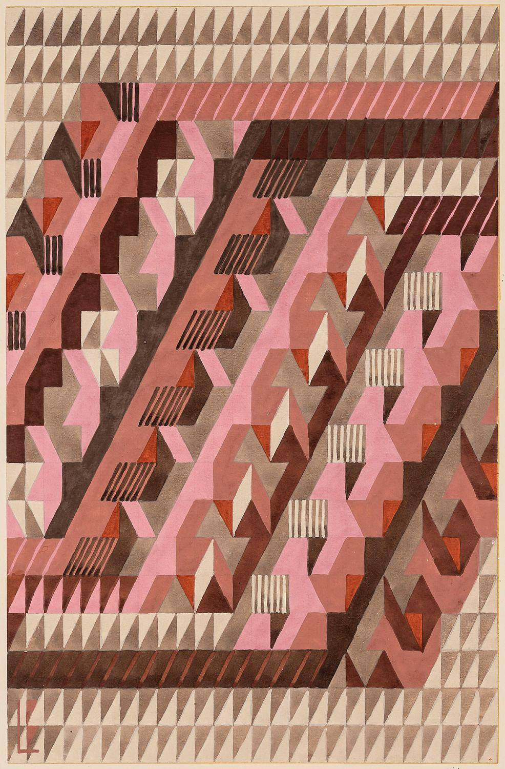 """Diagonal."" 1938. Design for a knotted carpet. number 4/39."
