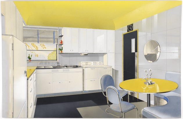 Vitrolite kitchen, Turzak residence, chicago, illinois. 1937. american. gouache, graphite and watercolor. bruce goff, maker. via digital.wolfsonian.org