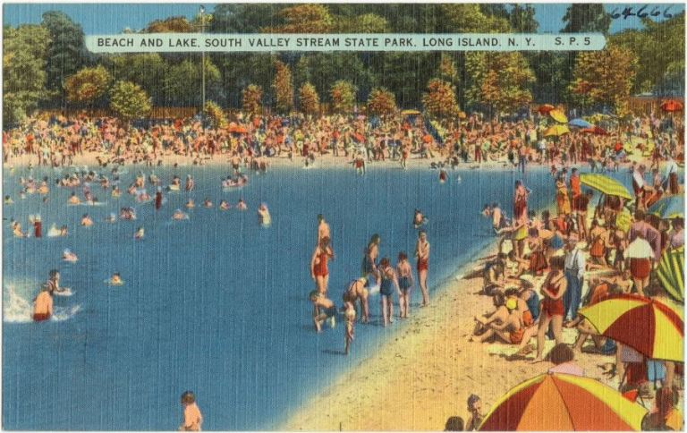 Beach and lake, South Valley Stream State Park, Long Island, New York. 1930-1945.