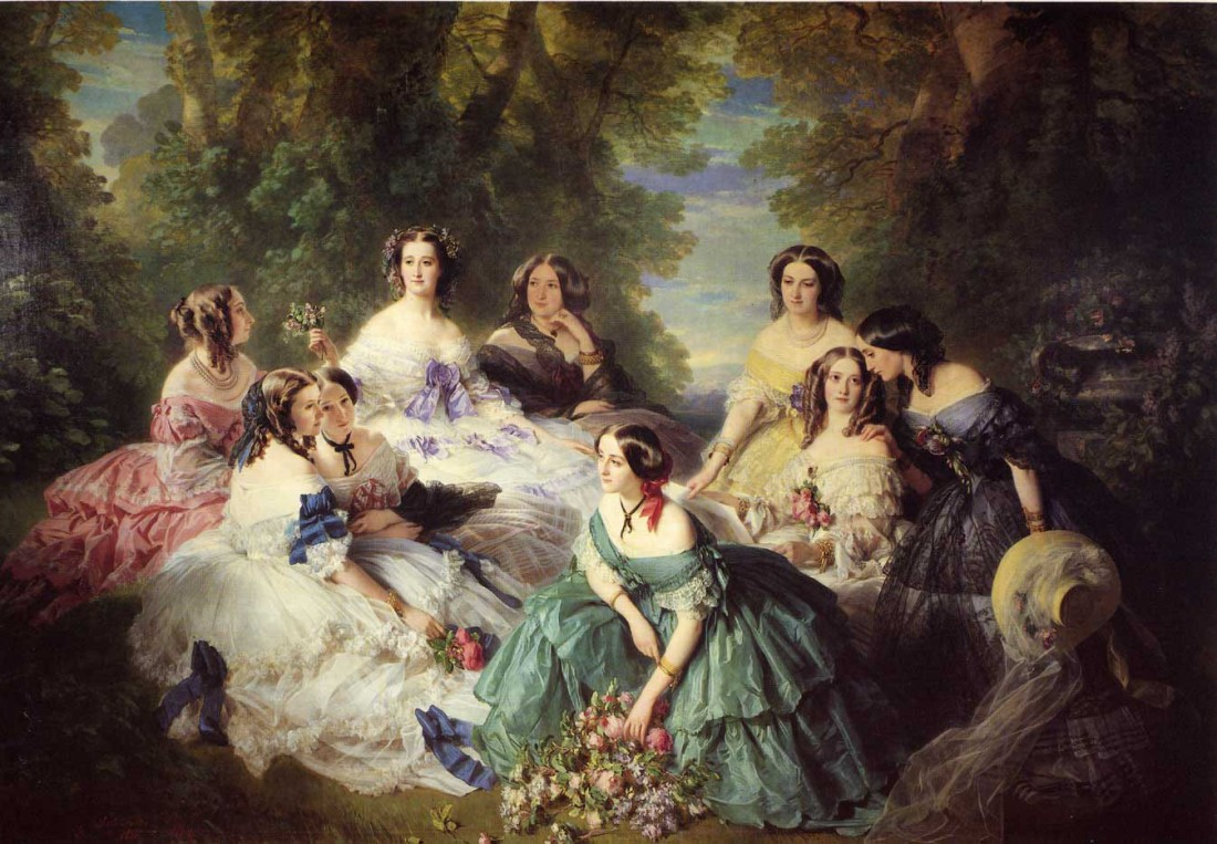 """The Empress Eugenie Surrounded by her Ladies in Waiting."" 1855."