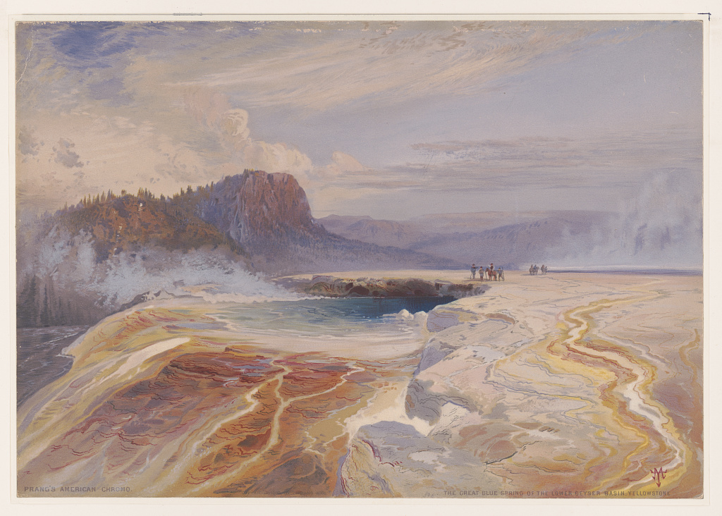 """The great blue spring of the Lower geyser basin, Yellowstone."" ca. 1875."