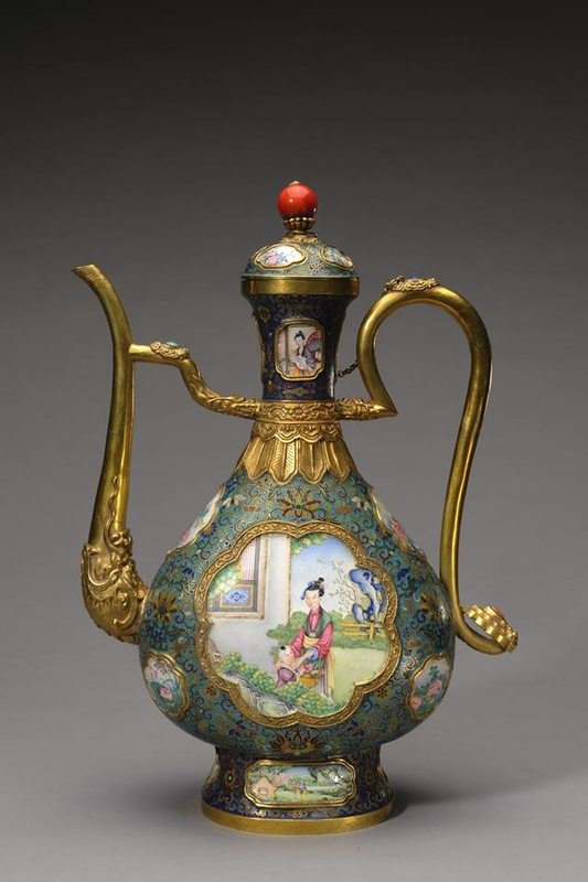 Ewer with lady and boy in garden on two sides.